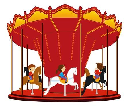 old horse: children s carousel Illustration