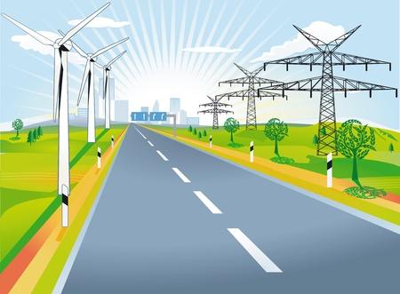 País por carretera con molinos de viento y postes de electricidad Ilustración de vector