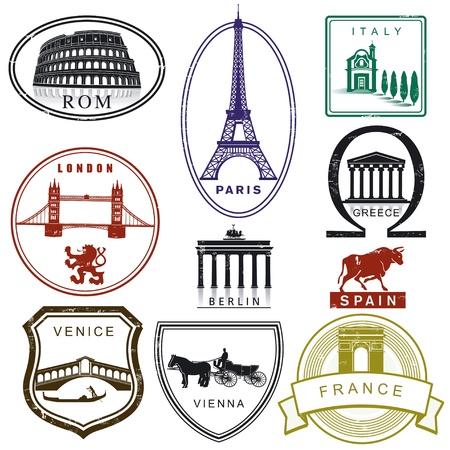 passaporto: Viaggio francobolli Vettoriali