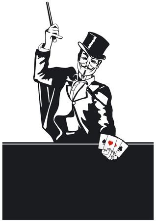 Goochelaar met kaart truc Vector Illustratie