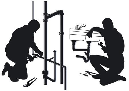 Loodgieters en verwarming ingenieurs Vector Illustratie