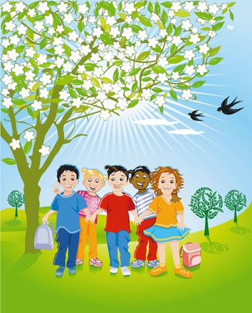 Children in Nature Stock Vector - 12938686
