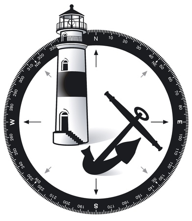 Compass, with a lighthouse and ship s anchor Stock Vector - 12938691