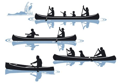 kayaking: canoeing isolated on white Illustration