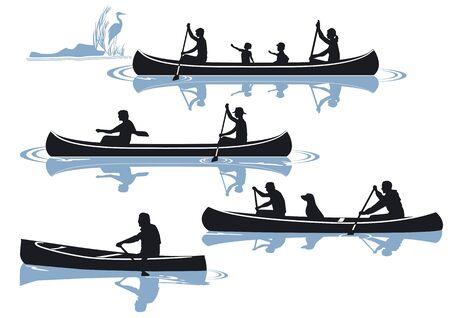 canoa: piragüismo aislado en blanco Vectores
