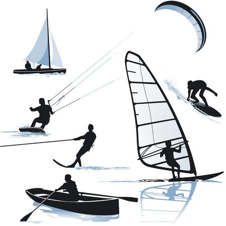 windsurf: deportes acuáticos Vectores