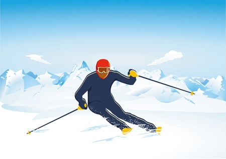 mountain holidays: Skiing Slalom Illustration