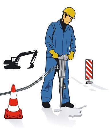 materiali edili: Lavoratori con martelli pneumatici Vettoriali