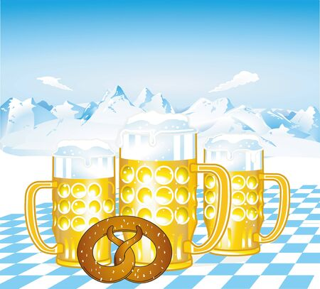 beer garden: Bavarian beer Illustration