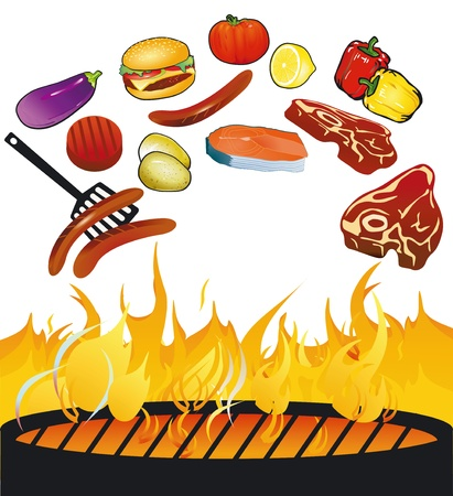 BBQ with food Vector