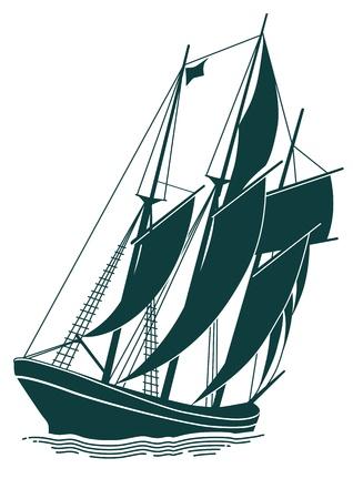 barca a vela: vecchia nave a vela Vettoriali
