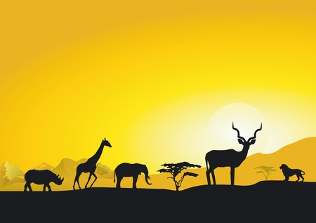 Evening in Africa Vector