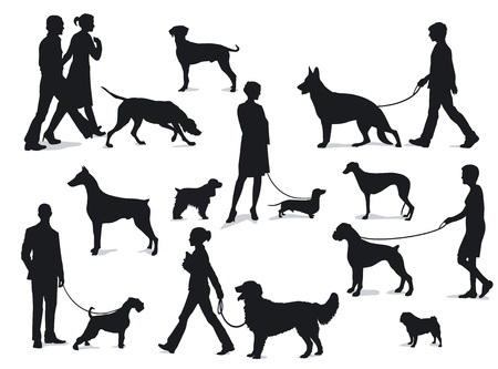 Walking with dogs Vector