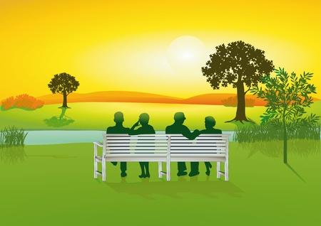 familia parque: Mayores de banco de un parque