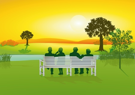 Seniors on park bench Vector