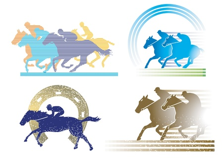 4 horse race characters Stock Vector - 13336361