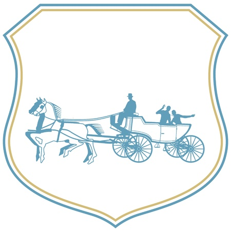 Couple in the wedding carriage Vector