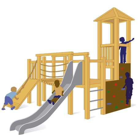 children at playground: columpio