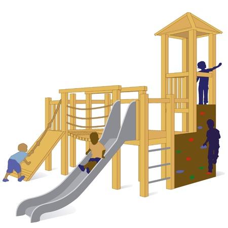 niños en area de juegos: columpio
