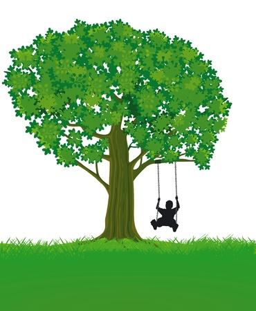 Niño y el árbol Ilustración de vector