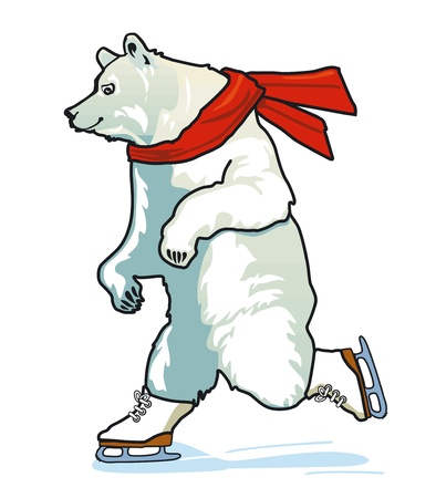Running Skating Polar Bear Vector