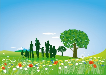 Summer lawn with family Vector