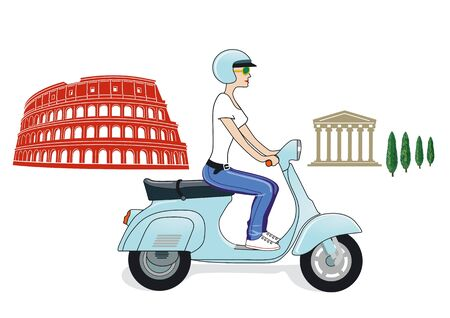 Rome on a scooter Vector