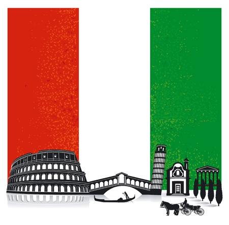 rialto: Italy with flag Illustration