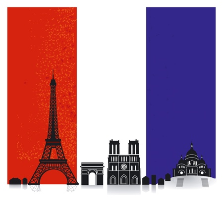 France with Flag Vector
