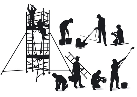Craftsmen and scaffolding Stock Vector - 13745612