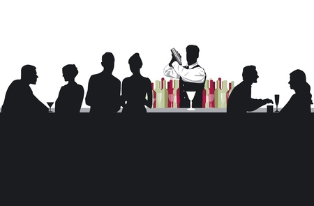 bartender: Cocktail bar avec barman