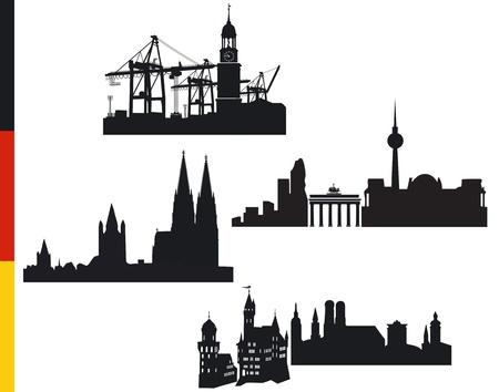 4 deutschen Städten, Hamburg, Berlin, Köln, München