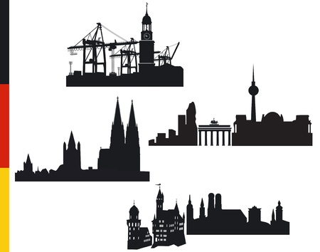 4 German cities, Hamburg, Berlin, Cologne, Munich