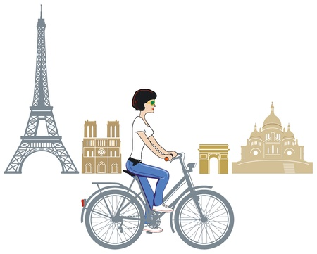 Cycling in Paris Stock Vector - 14098071