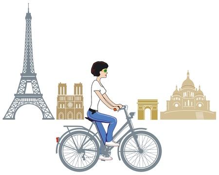 montmartre: Faire du v�lo � Paris Illustration