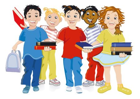 teaching children: Children with books Illustration