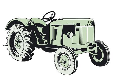 ouder Tracktor Vector Illustratie