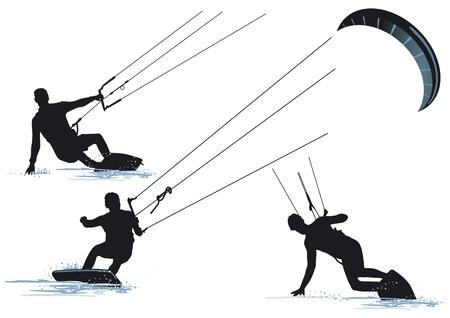 surfer silhouette: Kitesurfing