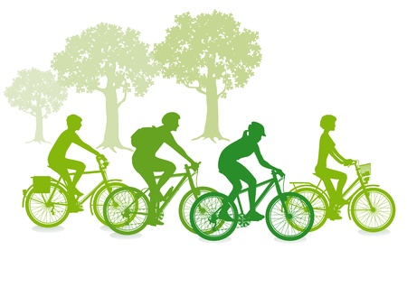 radfahren: Radeln im Gr�nen Illustration