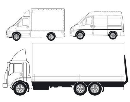 Trucks and Delivery Vans Vector