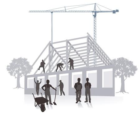 house building construction work  イラスト・ベクター素材