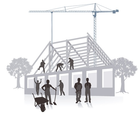 scaffold: house building construction work Illustration