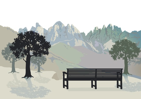 Area with park bench Stock Vector - 14266855