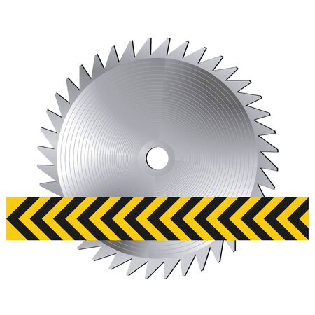warning saw: sharp circular saw Illustration