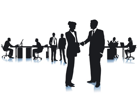 purchasing manager: Agreement with a handshake at the office