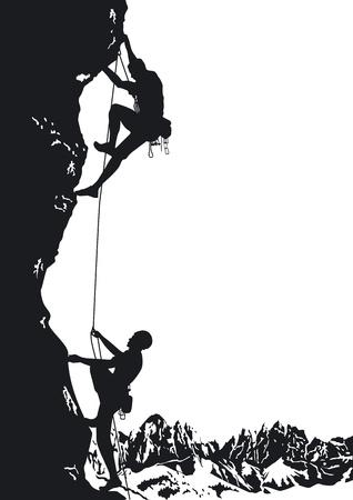 escalando: dos monta�ista Vectores