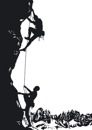 climbing wall: two mountaineer