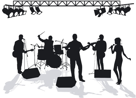 stage performer: Band on stage Illustration