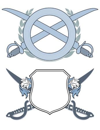 Emblem with swords Vector