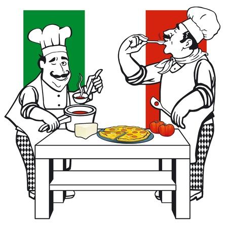 italian restaurant: Two Italian cooks Illustration